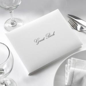 Guest Book white & silver