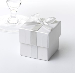 favour Box with Silver Ribbon