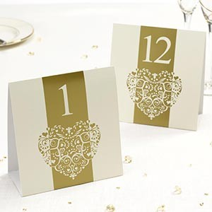 Vintage Romance Table Numbers Ivory & Gold