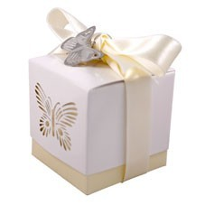 Ivory Laser Cut Butterfly Favour Box