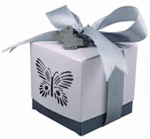 Silver Laser Cut Butterfly Favour Box